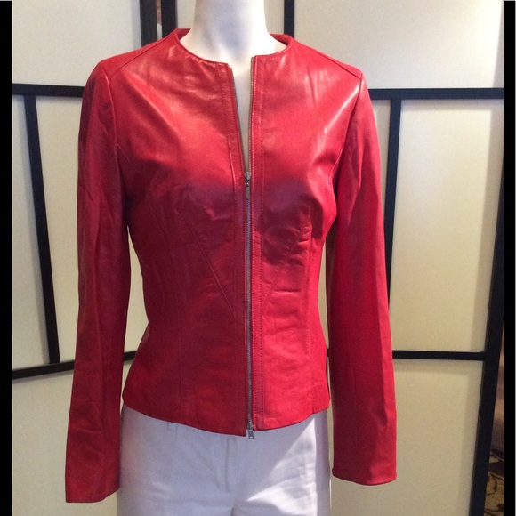 Daniel leather coral zip blazer, XS fits bigger